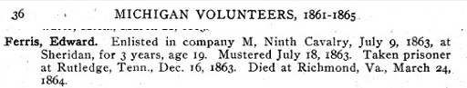Service record of Edward Ferris in the Michigan Calvalry