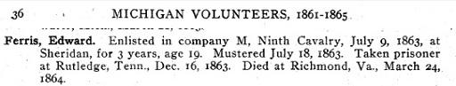 Service record of Edward Ferris in the Michigan Calvalry