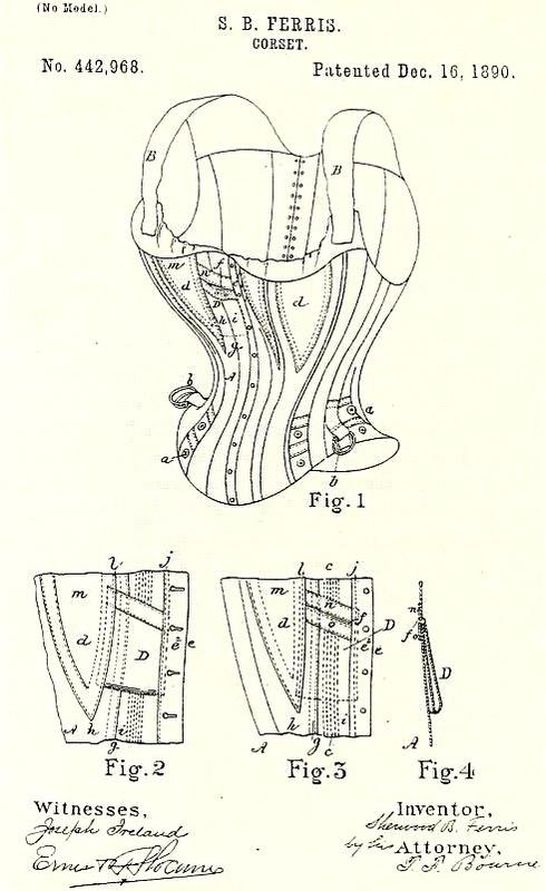Patent granted Sherwood Ferris for improvements in corset design