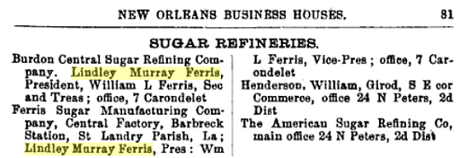 Ferris in a New Orleans business directory