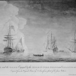 The Phoenix and the Rose engaged by the enemy's fire ships and galleys on Aug. 16, 1776