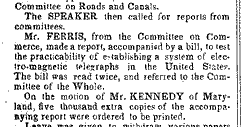 Congressional action on a telegraph line