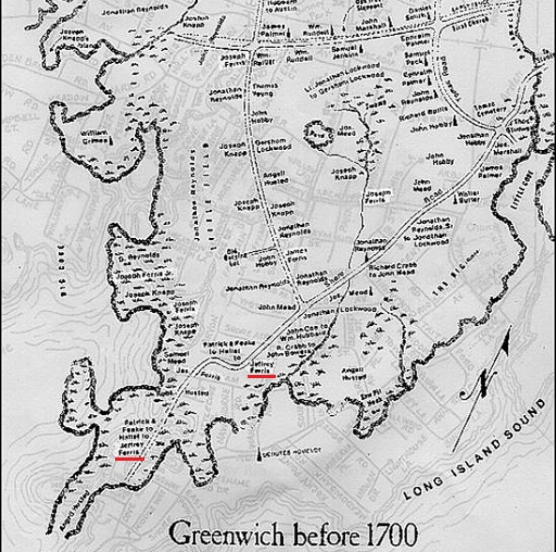 Partial map of Greenwich CT before 1700