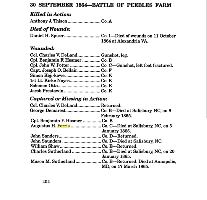 1st Michigan Sharpshooter losses Peebles Farm