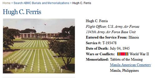 Hugh Crockett Ferris, Army Air Force, missing in action, World War II