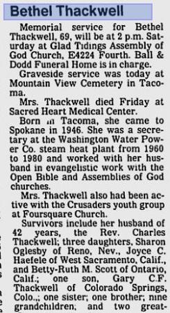 Bethel Thackwell obituary