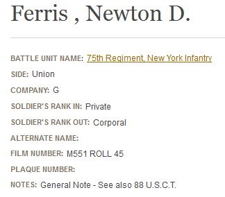 National Park Service record for Newton Ferris and service with colored troops