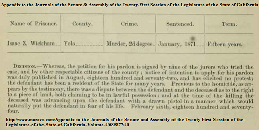 The pardon that Isaac Wyckam received for his conviction for the murder of John. R. Ferris