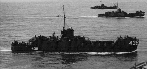 LCI 438, gunboat, off Iwo Jima in Nov 1944